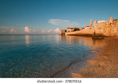Castle like view on the Budva, Montenegro old town from the sea