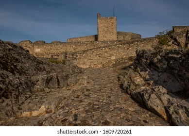 Marvão castle main entrance with cobblestone path
