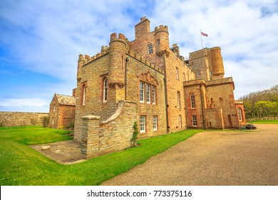 Castle of Mey or Barrogill castle near Thurso and John o' Groats on north coast of the Highland in Scotland, United Kingdom on a sunny day. Popular landmark and famous touristic attraction.
