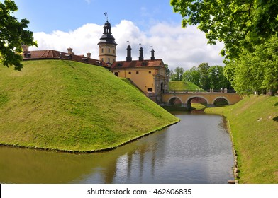 The castle, moat and rampart. Nesvizh. Belarus