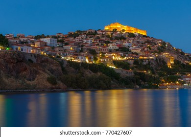The castle of Molyvos against a clear sky on the north part of Lesvos, in the province of Ancient Mithymna, the second biggest and most important fortress in the island. Lesvos, Aegean, Greece