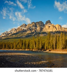 Castle Mountain and Bow River in Banff National Park, Alberta, Canada