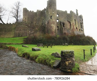 The castle near the estuary at Laugharne, Carmarthenshire, Wales, UK.