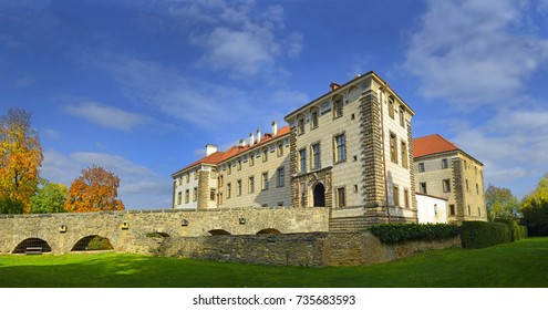 The Castle Nelahozeves near Prague in Czech Republic. The Nelahozeves Chateau is a 16th-century building, one of the most important late Renaissance buildings in Bohemia.