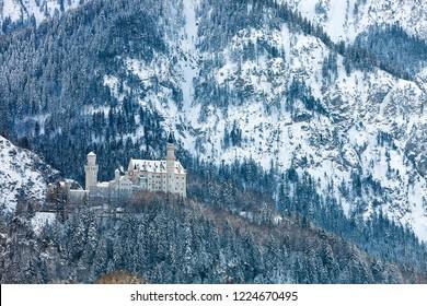 Castle Neuschwanstein in the Bavarian Alps