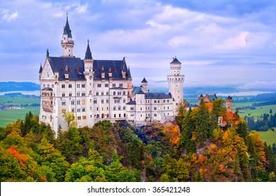 Castle Neuschwanstein in bavarian Alps mountain in early morning light, Germany