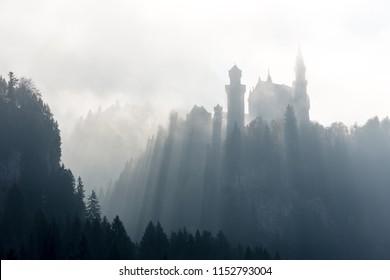 Castle Neuschwanstein in ghostly light
