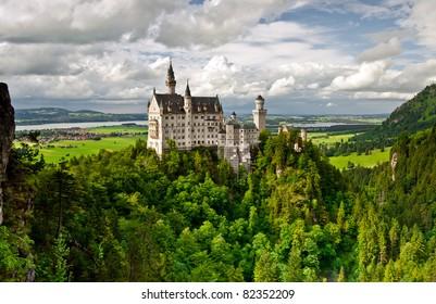 Castle Neuschwanstein in the mountains