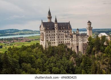 Castle Neuschwanstein in the mountains of Bavaria