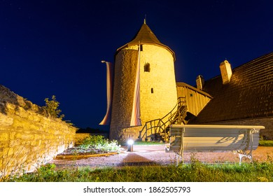 Castle Nove Mesto nad Metuji , old tower Zazvorka at night light, Czech republic - Shutterstock ID 1862505793