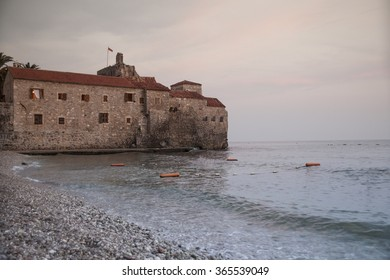 Castle In Old City Of Budva, Montenegro. Morning Sea