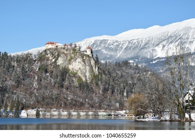 The castle on the hill around Lake Bled, Slovenia