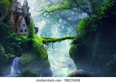 castle on hill in fantasy foggy forest dreamy landsscape