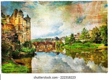castle on lake - artwork in painting style (Espalion, France)