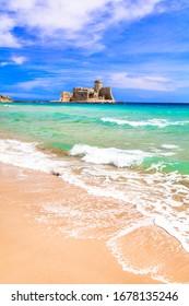 Castle on the sea. Le Castella .Isola di Capo Rizzuto - beaches of Calabria. Italy