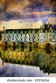 castle on sunset - picture in painting style (from my castle' series)