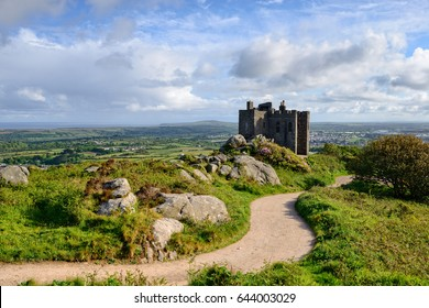 The castle on the top of Carn Brea, a hill overlooking the town of Redruth in Cornwall