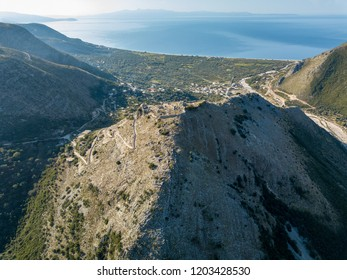 Castle on top of mountain.  Borsh castle located along the Albanian Riviera