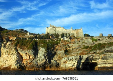 Castle on top of the rocky coast of Portovenere