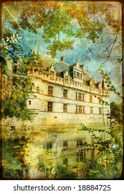 castle on water - picture in retro style