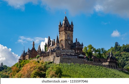 Castle over a vineyard in summer in cochem