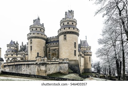 Castle of Pierrefonds, fortifications, frost and snow. FRANCE - January 2017.