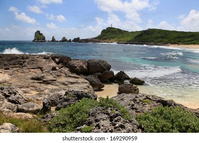 Castle Point in Guadeloupe in the Caribbean sea