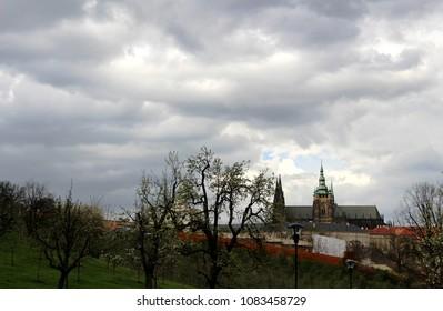 castle in prague landscape in czech republic