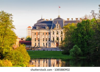 Castle in Pszczyna town in Poland. Beautiful antique neo baroque castle.