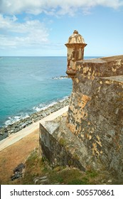 castle in Puerto Rico in coast line with blue water
