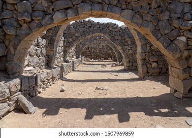 Castle Qazr Al-Azraq - one of the Jordan desert castles. Used by Lawrence of Arabia as a base during the Arab Revolt. Arches of ruined building.