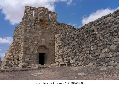 Castle Qazr Al-Azraq - one of the Jordan desert castles. Used by Lawrence of Arabia as a base during the Arab Revolt. Tower with doors made of stone.
