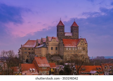 castle of Quedlinburg at dusk, Germany