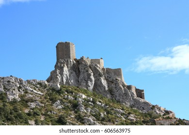 Castle of Queribus in Corbieres, Aude, Occitanie in south of France
