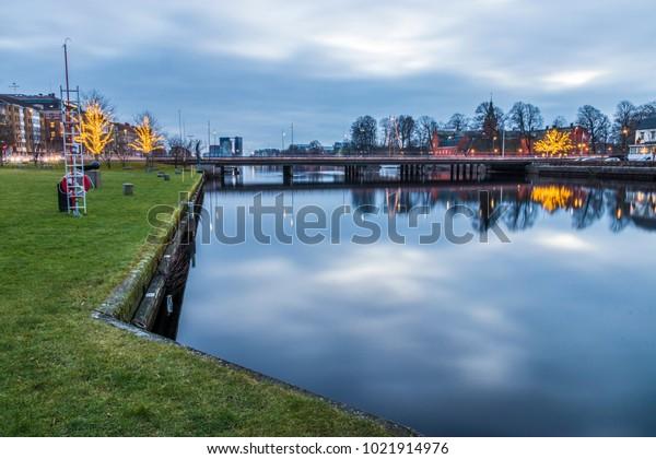 Castle River Nissan Halmstad Evening Parks Outdoor Stock Image
