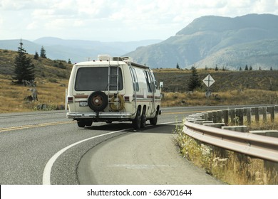 CASTLE ROCK, WA - SEPTEMBER 21: A '70s GMC Royale Motorhome six-wheeler camper van drives around the Mount St. Helens National Volcanic Monument in Castle Rock, Washington on September 21, 2016.