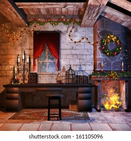 Castle room with a fireplace, candles and Christmas decorations