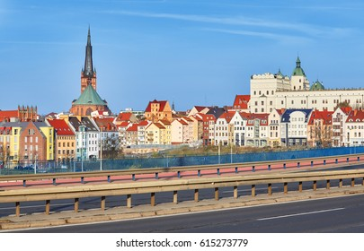 Castle route, main Szczecin city entrance highway with the old town in distance, Poland.