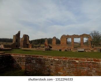 Castle ruins, medieval landscape