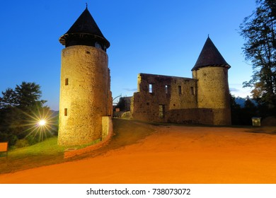 Castle ruins at night, in northen Croatia, near Karlovac