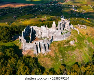 Castle ruins of Somlo in Balaton Highland next to Doba town. Historical little fort what built in 13th century.