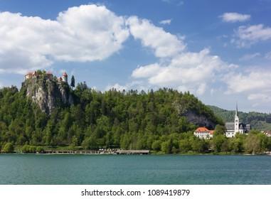The castle and Saint Martin Church in Bled, Slovenia