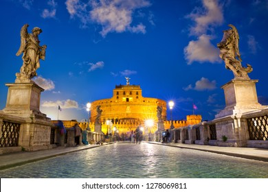 Castle Sant Angelo and bridge at dusk in Rome, Italy