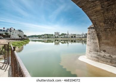 Castle of Saumur and Loire river, Maine-et-Loire department (France)