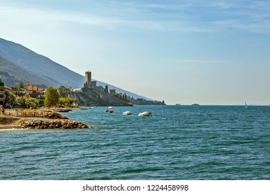 Castle Scaligero and Lake Garda. Malcesine. Italy