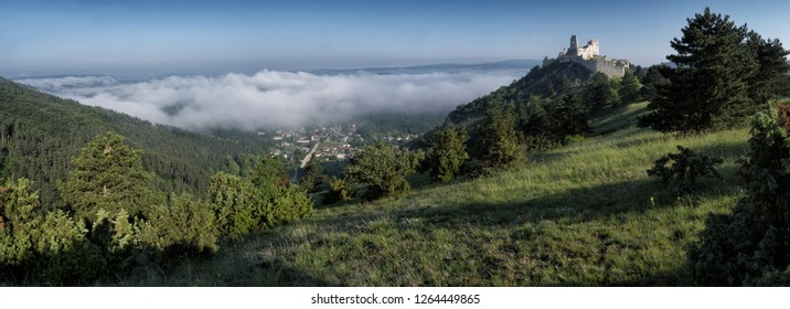 Čachtice Castle seat of the Elisabeth Báthory in the Carpathians Protected landscape area Malé Karpaty in  foggy morning