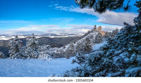 Čachtice Castle seat of the Elisabeth Báthory in the Carpathians Protected landscape area Malé Karpaty in winter
