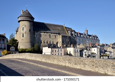 Castle seen of the old bridge Pont-Vieux in french, at Laval, commune in the Mayenne department in north-western France