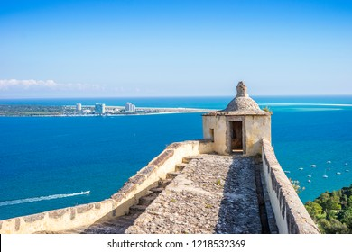 Castle in Setubal with beautiful view of Atlantic Ocean and Troia city on a peninsula.