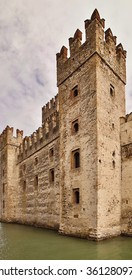 Castle in Sirmione, with its moat,Italy